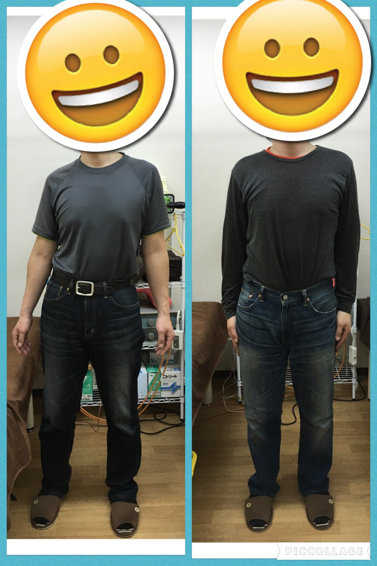 左が初来院時の治療前 右は3回目治療後